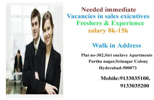 Requirement for Sales exicutives-Jobs-Sales & Distribution-Hyderabad
