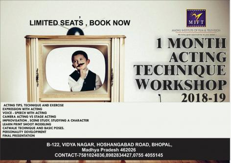 Jun 4th – Jun 30th – Registration open 1 MONTH ACTING TECHNIQUE WORKSHOP 2018-Jobs-Arts & Culture-Sagar