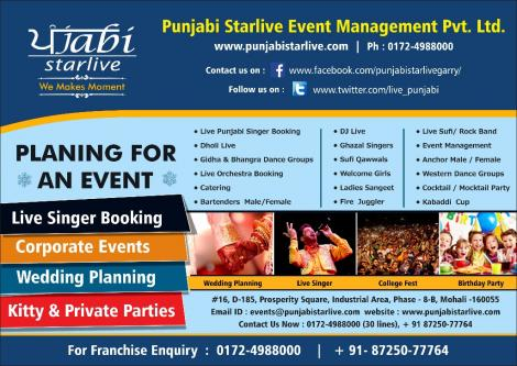 Contact Punjabi StarLive Best Event Planners in India-Services-Event Services-Chandigarh
