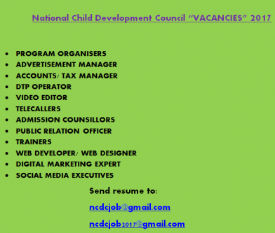 National Child Development Council recruitment 2017-Services-Office Services-Kozhikode