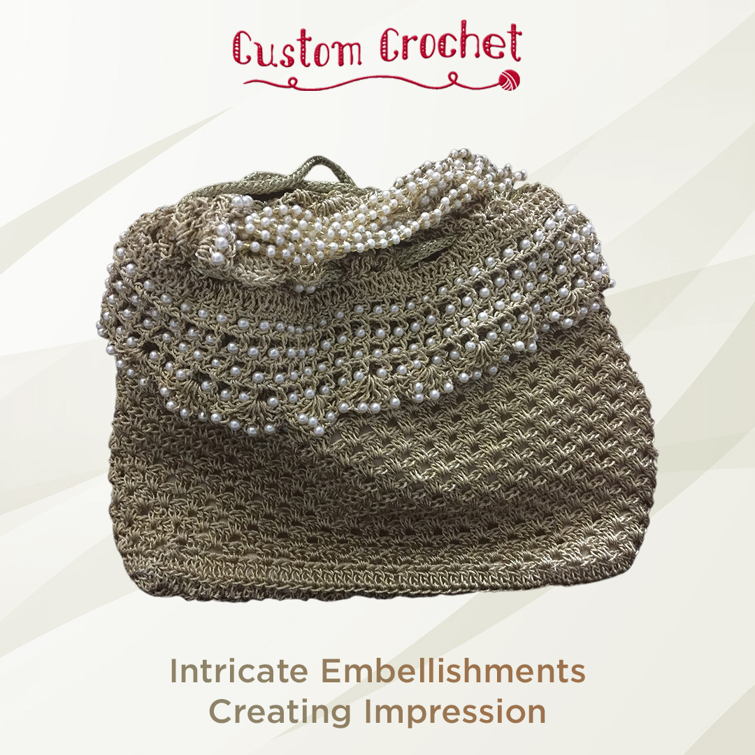 Colorful and pretty crochet pattern for modern clutches, fan-E-Market-Fashion-Women-Ahmedabad