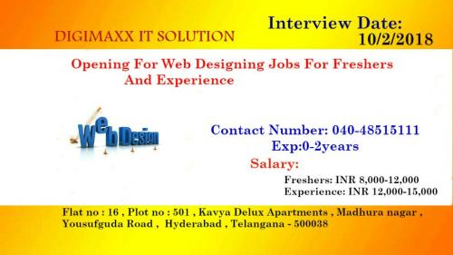 Opening For Web Designing Jobs For Freshers And Experience-Jobs-Design & Architecture-Hyderabad