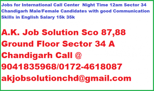 Needs for Male/Female Candidates ​ International Call Center Nig-Jobs-Customer Service & Call Centre-Chandigarh