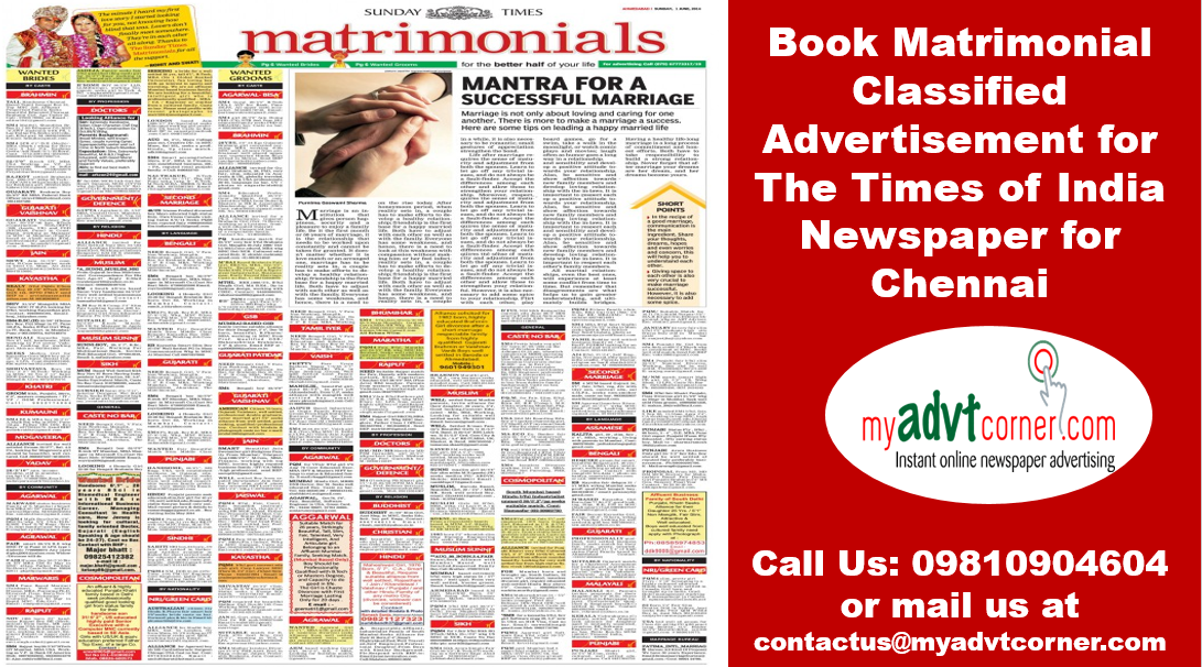Times of India Chennai Matrimonial Classified Advertisement-Services-Other Services-Chennai