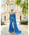 Shop Printed Blue Brasso Saree with matching blouse from Mir-Services-Health & Beauty Services-Beauty-Mumbai