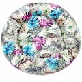 Buy Tropical Print Donut Shaped Bed for Dogs Blue & Pink (S)-Pets-Dogs-Jaipur